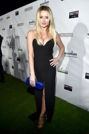 Dublin actress Amy Shiels is all curves in this floor length black dress.