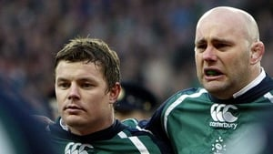 Brian O'Driscoll and John Hayes during the national anthem at Croke Park