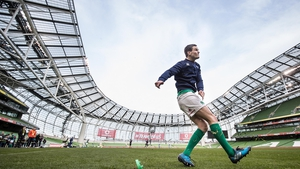 Johnny Sexton gets in some kicking practice at the Aviva Stadium