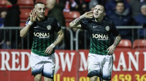 Gary McCabe celebrates scoring Bray's second goal with Dylan Connolly