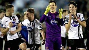 Dundalk players celebrate a hardfought win at the final whistle