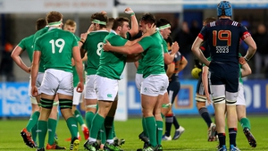 Ireland Under-20 side celebrate at full-time in Donnybrook