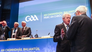 Director General of the GAA Paraic Duffy (R) speaks to Westmeath county board chairman Sean Sheridan