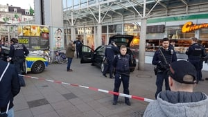 Police officers at the scene in Heidelberg, southern Germany