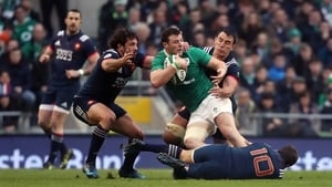 Robbie Henshaw is targeted by three French tacklers at Aviva Stadium