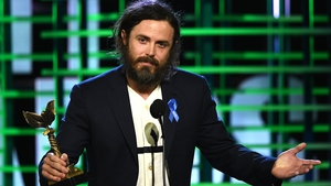 Casey Affleck accepts the Best Actor Awards at the Spirit Awards