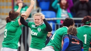 Ireland celebrate Leah Lyons' try