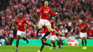 Zlatan Ibrahimovic jumps for joy at Wembley