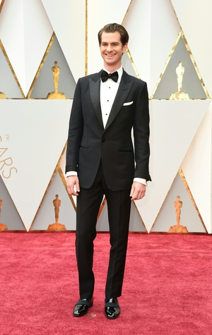 Nominee for Best Actor 'Hacksaw Ridge' Andrew Garfield looks ever-so-handsome in his classic black bow tie.