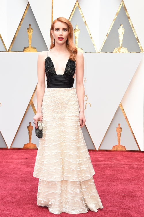 Emma Roberts rocked a lacy number from Armani Privé. Check out that Julia Roberts red hair!