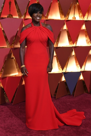 Nominee for Best Supporting Actress in 'Fences' Viola Davis stuns in a floor length custom red Armani dress
