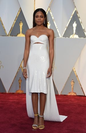 Nominee for Best Supporting Actress 'Moonlight' Naomie Harris glitters in  in Calvin Klein By Appointment with Bvglari jewellery.