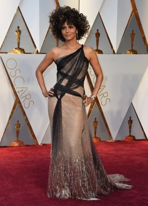 Halle Berry is rocking this strappy Atelier Versace