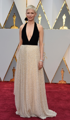 Michelle Williams sparkled in this halter neck Louis Vuitton dress.
