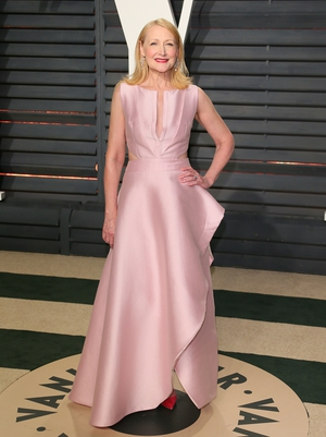 Patricia Clarkson looks pristine in pale pink.