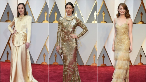 A palette of silver and gold was on full display at this year's Oscars. Celebrities shimmered in pale gold gowns and shone in silver sequins on the red carpet. Emma Stone, Jessica Biel and Dakota all rocked the eye-catching trend.