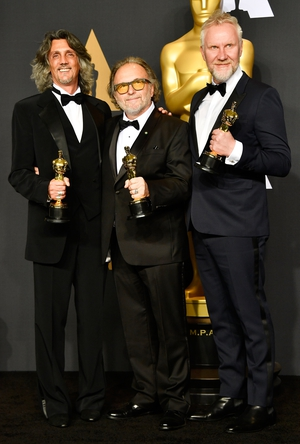 Makeup artists Giorgio Gregorini, Alessandro Bertolazzi and Christopher Nelson, winners of the Best Makeup and Hairstyling award for Suicide Squad