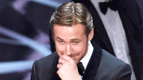 Ryan Gosling La La Laughs after Best Picture Blunder
