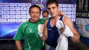 Eddie Bolger, left, with Irish boxer Joe Ward
