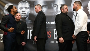 David Haye and Tony Bellew stand separated by bouncers