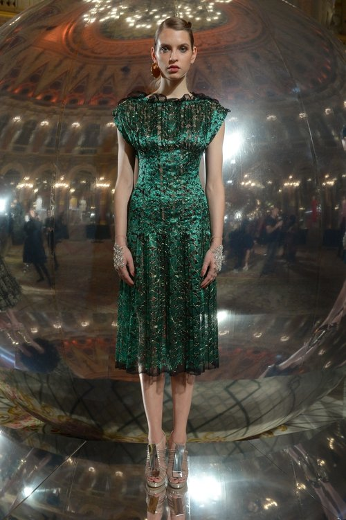 110a5fd5241 A mesmerizing green metallic lace dress at the Paule Ka Show.