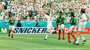 John Aldridge celebrates scoring against Mexico in 1994