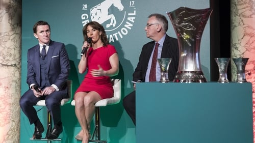 Phil Smith (R) pictured with AP McCoy and Katie Walsh at the launch of the Grand National weights