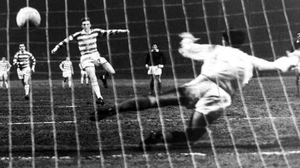 Celtic's Tommy Gemmell (l) scores a penalty in 1967