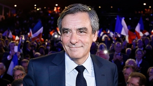 Francois Fillon arrives at a presidential campaign political rally in Nimes, Southern France, earlier today