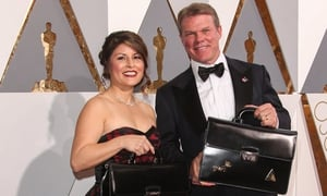 Brian Cullinan and Martha Ruiz on the red carpet ahead of the Best Picture mix-up at Oscars in February