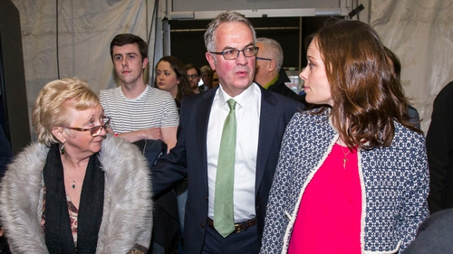 Alex Attwood, who lost his seat, is pictured with SDLP colleagues Margaret Walsh and Nicola Mallon at the Titanic Exhibition Centre