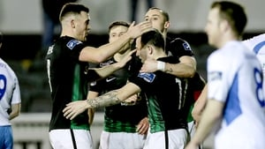 Bray Wanderers players congratulate Gary McCabe after scoring from the penalty spot