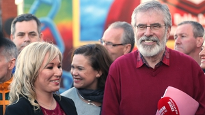 Michelle O'Neill, leader of Sinn Féin in Northern Ireland, with Sinn Féin President Gerry Adams outside the party headquarters in Belfast today