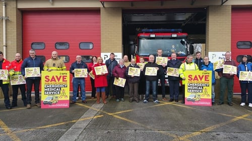 Firefighters and supporters protest outside Finglas Fire Station