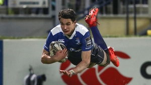 Joey Carbery goes over for one of his two tries against the Scarlets