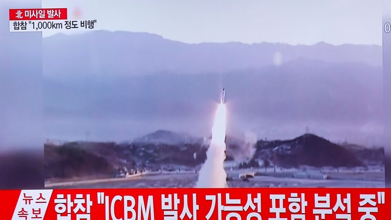 South Korean television showed footage of the incident