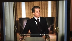Hugh Grant is still the Prime Minister in the Love Actually catch-up for Red Nose Day. Pic: Twitter/EmmaFreud