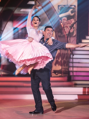 Week 9: Dancing Dessie Cahill rocked his American Smooth in an Uptown Girl inspired mechanic's uniform.