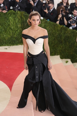 Emma Watson made headlines by wearing a Calvin Klein dress made of recyclable materials in 2016. Theme: Manus x Machina: Fashion in an Age of Technology