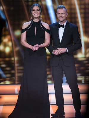 Week 8: Amanda Byram killed it in this black Suzanne Neville number. Nicky looked lovely too.