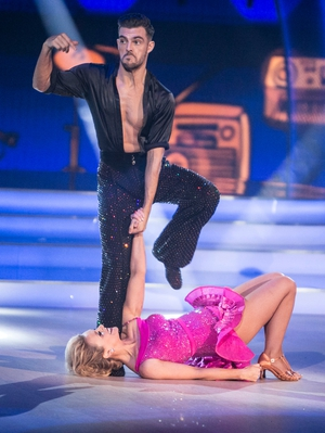 Week 8: We were floored (geddit) by Denise's hot pink dress.