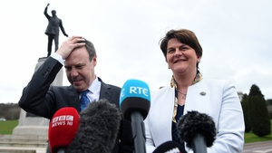 Arlene Foster and Nigel Dodds spoke to reporters at Stormont today