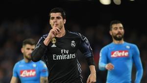 Alvaro Morata celebrates after scoring against Napoli in Naples