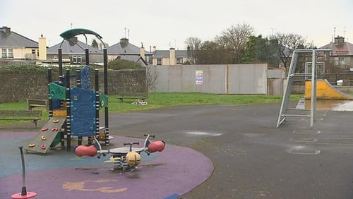 The playground in Tuam with the site where human remains were found at the back