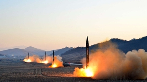 Picture released by North Korea's state news agency showing the launch of four ballistic missiles
