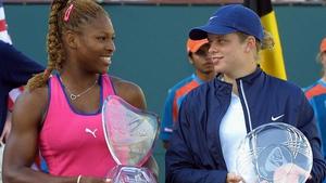 Serena Williams (L) after beating Kim Clijsters at Indian Wells back in 2001