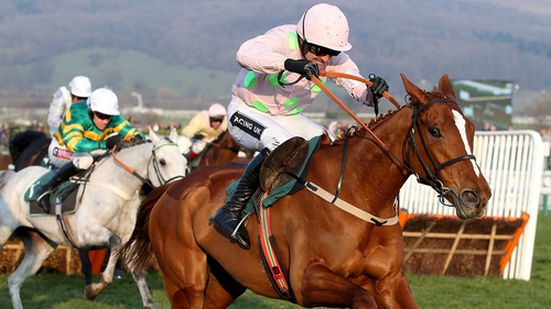 Limini under Ruby Walsh on the way to winning the Mares' Novices Hurdle at last year's Cheltenham Festival