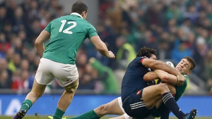 France's Rémi Lamerat tackles Garry Ringrose as Robbie Henshaw looks on