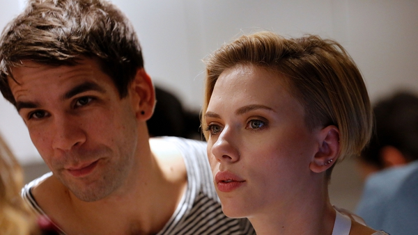 Scarlett Johansson and Romain Dauriac at the opening of her Yummy Pop gourmet popcorn shop in Paris in October 2016