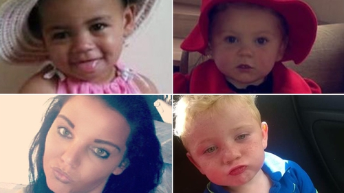 Clockwise from bottom left: AnneMarie O'Brien, her daughter Paris (2) and cousins Holly (3) and Jordan (4)